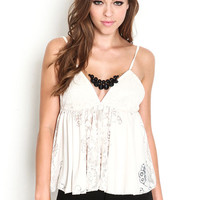 BEJEWELED LACE BABYDOLL TOP