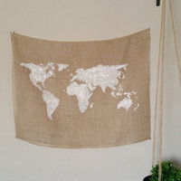 World Map Burlap Tapestry 24in x 18in