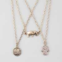 Full Tilt 3 Piece Love/Elephant/Hamsa Necklaces Gold One Size For Women 25142462101