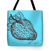Blue Strawberry Tote Bag