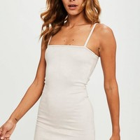 Missguided - Nude Faux Suede Square Neck Bodycon Dress