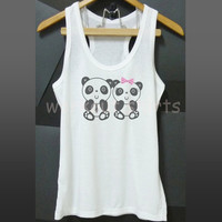 Panda lover tank top printed shirt white size S M L XL fitness sleeveless top/ singlet/ yoga tshirt/ summer clothes/ men women tops