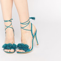 Daisy Street Pom Ghillie Lace Up Heeled Sandals