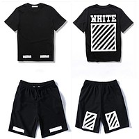 Trendsetter Off White Women Men Casual Sport T-Shirt Top Tee Shorts Set Two Piece
