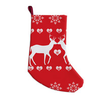 """Suzanne Carter """"Christmas Deer 2"""" Holiday Pattern Christmas Stocking"""