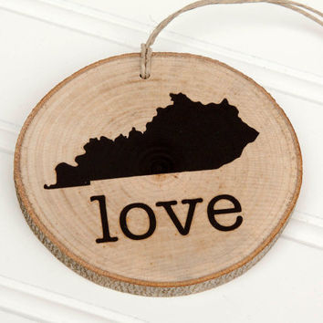 Kentucky Love state shape Maple wood slice ornaments Set of 4 .  Wedding favor, Bridal Shower, Country Chic, Rustic, Valentine Gift