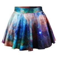 Erlking Women's Basic Versatile Galaxy Stretchy Flared Skater Skirt Color Galaxy Yellow