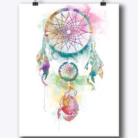 Dream Catcher Art Dream Catcher Print Dream Catcher Watercolor Painting Home Decor Poster Gift For Mom Wall Hanging Digital Download