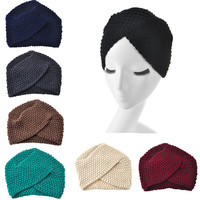 2017 New Fashion Ladies Winter Warm Turban Soft Knit Beanie Crochet Headwrap Women Hat Cap Hairband