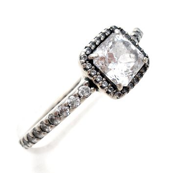 Pandora Clear CZ Halo Ring Size 9