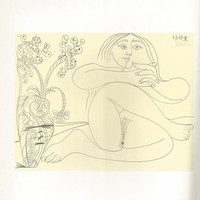 """Pablo Picasso 1972 Vintage Lithograph Signed on the Plate Entitled """"Femme Nue et Bouquet"""" c. 1969 From Sari Heller Gallery -Classic Picasso!"""