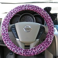 Pink Cheetah Steering Wheel Cover with Matching Black Bow