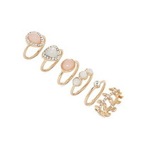 Rhinestone Faux Stone Ring Set