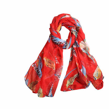 Silk Scarf Ladies Leaves Birds Print Pattern Long Scarf Warm Wrap