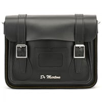 Dr. Martens Black Kiev Leather Satchel - 11-Inch