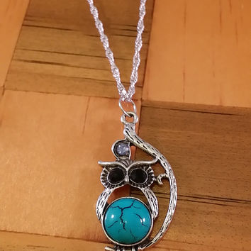 Owl Charm Necklace, Turquoise Colored Stone Owl Charm, Hippie Necklace, Boho Charm Necklace, SIlver Owl Pendant Necklace