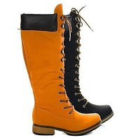 Lauren02 By Nature Breeze, Military Combat Calf High Boots w Padded Collar & Threaded Sole