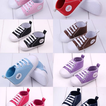 Candy Colors 1 Pair Baby Boys Girls Soft Sole Crib Canvas Shoes to 0-18Months = 1946268740
