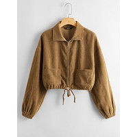 SHEIN Drop Shoulder Patched Pocket Corduroy Jacket