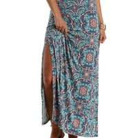 Multi Tile Print Double Slit Maxi Skirt by Charlotte Russe