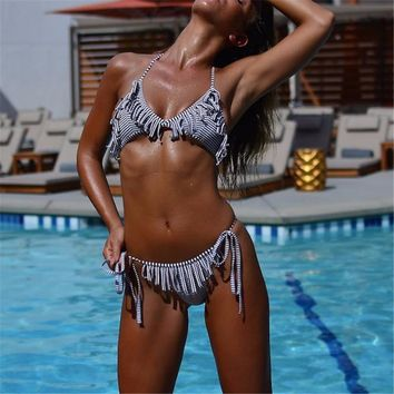 Fringe Tassel Bikini Set Bohemian  Black White Stripe Bikini Strappy Swimsuit Retro Swimwear Women Bathing Suit Brazilian Biquini