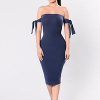 Shoulder To Shoulder Dress - Eveny Blue
