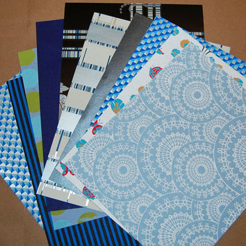 Decorative Paper Pack - Gorgeous Blue Paper Pack of 10 Marbled, Striped and Double Sided Paper Sheets.