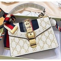 Hipgirls GUCCI New fashion embroidery more letter leather shoulder bag women crossbody bag White