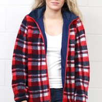 Plaid Print Sherpa Fleece Jacket {Red Mix}