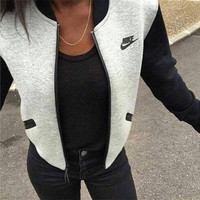 "Hot Sale Sportswear Patchwork ""Nike"" Alphabet & Logo Print Round-neck Women's Jacket [6698297991]"