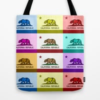 California Republic Flag Colorful Design Tote Bag by NorCal