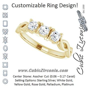 Cubic Zirconia Engagement Ring- The Maria José (Customizable Triple Asscher Cut Design with Twisting Infinity Split Band)