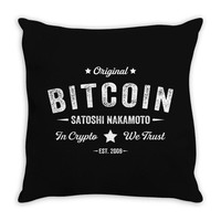 Bitcoin Satoshi Nakamoto In Crypto We Trust Throw Pillow