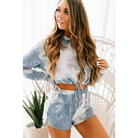 Final Offer Tie Dye Hoodie & Shorts Set (Blue)