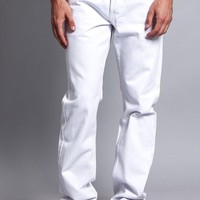 Men's Straight Fit Colored Denim Jeans (White)
