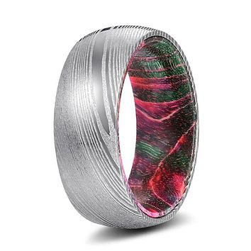 ELTON Men's Damascus Steel Ring with Red/Green Wood Sleeve 8mm