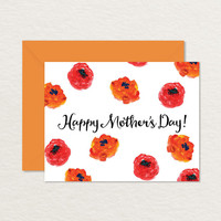 Poppies Printable A2 Mother's Day Card / Card for Mom
