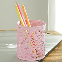 pen holder Makeup Brush Vase Roses Brush Pot pen holder desk organizer Stationery Storage Office Supplies 1.3