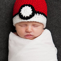 POKEMON POKEBALL Crochet Hat Baby Newborn 0 3 6 12 Months 1T 2T 3T 4T Child Teen Adult