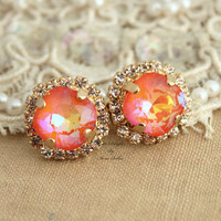 Orange Rhinestone Crystal stud earring bridesmaids gifts bridal earrings - 14k 1 micron Thick plated gold earrings real swarovski.