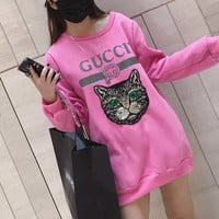 """Gucci"" Women Casual Fashion Letter Print Embroidery Sequin Cat Head Thickened Long Sleeve Pullover Sweater Tops"