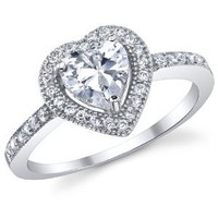 1.0 Carat Heart Shape Sterling Silver 925 Engagement Wedding Ring With Mirco Pave Cubic Zirconia