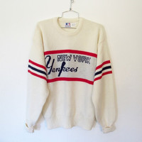 Vintage 1980s Cliff Engle / New York Yankees MLB / Knit Pullover Sweater