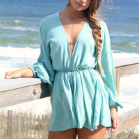 Marleena Bay Long Sleeve Aqua Romper