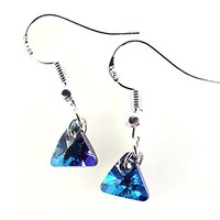 Teal Blue Xilion Triangle Crystals by Swarovski Earrings Sterling Silver Ear Wires