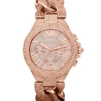Michael Kors Mid-Size Rose Golden Stainless Steel Camille Chronograph Glitz Link Watch - Michael Kors