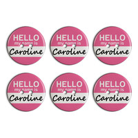 Caroline Hello My Name Is Plastic Resin Button Set of 6