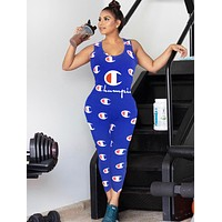 Champion New fashion letter logo print vest jumpsuit women Blue