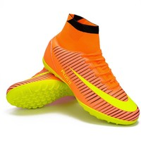 Men Blue Orange High Ankle Turf Sole Indoor Cleats Football Boots Shoes Kids Soccer Cleats