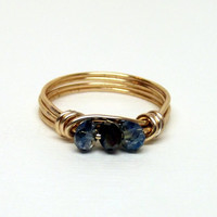 Gold Tone Non Tarnish Wire Wrapped 3 Gemcut Blue and Black Glass Stone Beaded Ring